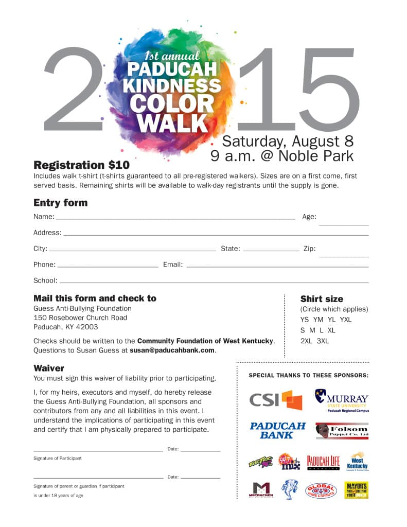 PB paducah kindness walk entry form 2015